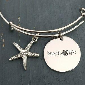 Jewelry - Beach life charm bracelet, bangle, turtle bracelet
